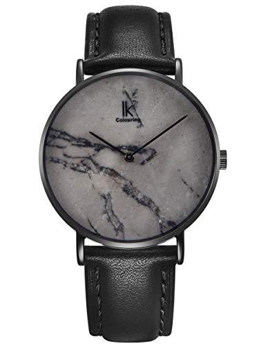 Alienwork Herren Damen Armbanduhr Quarz schwarz mit Lederarmband grau echtes Marmor Zifferblatt