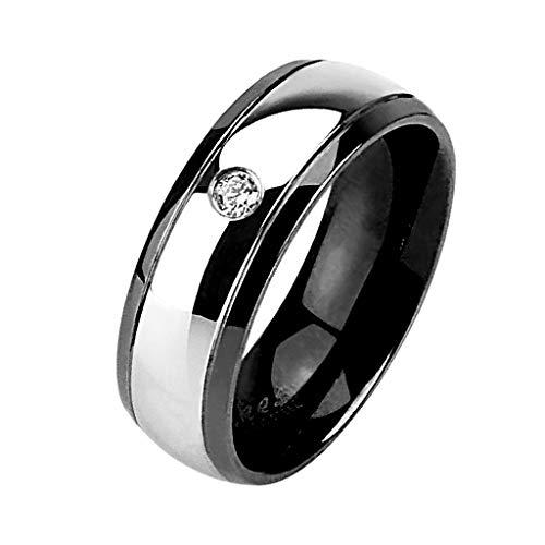 Piersando Band Ring Edelstahl Bandring Ehering Herrenring Damenring Partnerring Damen Herren mit Kristall Größe 68 (21.6) Schwarz Breit 8mm