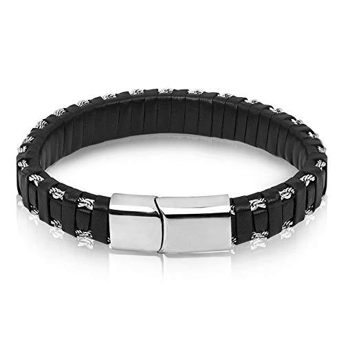 Fygrend - Charm Leder-Armband für Männer Schmuck Edelstahl Schließe Gold/Silber-Stahldraht-Ketten Flechten-Seil-Kettenarmband [22.5CM ()