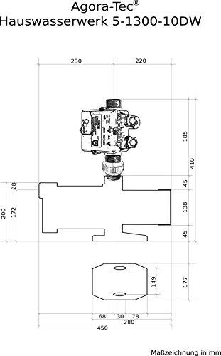 Agora-Tec® AT-Hauswasserwerk-5-1300-10DW, 5 stufige Kreiselpumpe mit max: 5,6 bar und max: 5400l/h und Druckschalter mit Trockenlaufschutz -