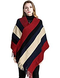 16c5c6c330bb2e INAMOUR Women s Poncho Cape Knit V-Neck Striped Pullover Sweater with  Fringes