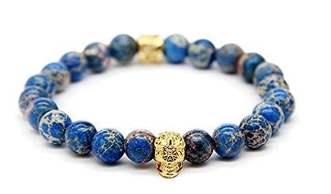 GOOD.designs Chakra Bead Skull-Bracelet made of natural Jasper stones, Skull Pendant in Gold (Gold)