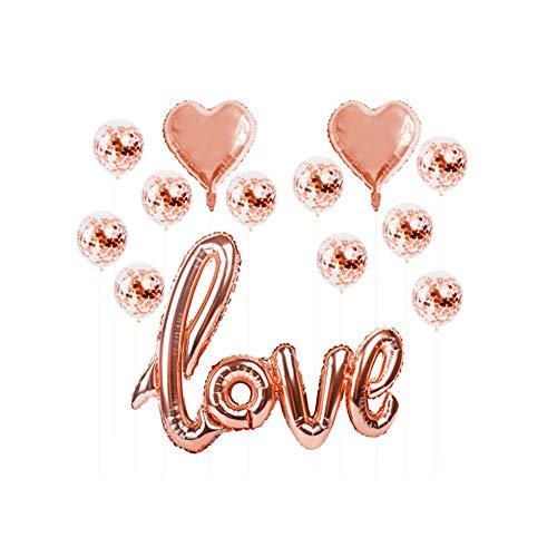 Rrunzfon 1set Herz Konfetti Luftballons für Hochzeit Splendid Luft gefüllt Foil Liebeskugeln Rose Gold-Partei-Dekoration Kit Schöne Rose Balloons