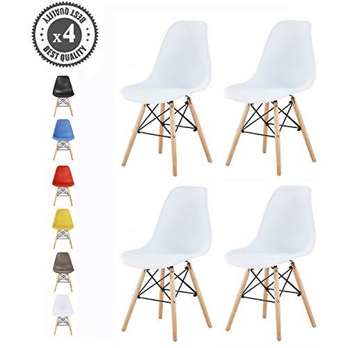 MCC Retro Design Stühle LIA im 4er Set, Eiffelturm inspirierter Style für Küche, Büro, Lounge, Konferenzzimmer etc., 6 Farben, KULT (Weiß) 6 Küche