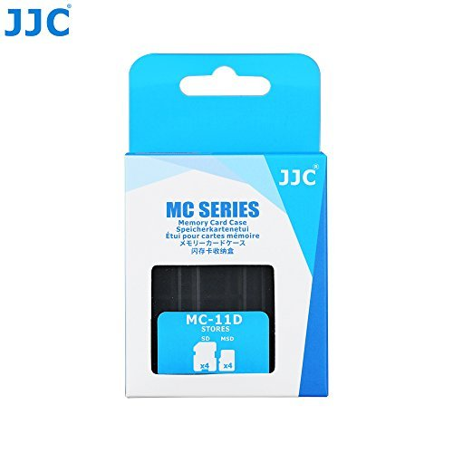 JJC MC-11D Professional Water-Resistant Memory Card Case Protector for 4 SD Cards + 4 Micro SD Cards Storage Dark