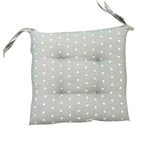 takestop® Set 2Stuhlkissen Kissen grau Herzen Margot mit 4Prozentpunkte mit 2Bändern Schnürsenkel Kissen für Stühle gepolstert