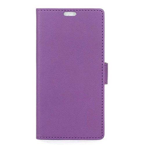 Solid Color Kas Textur Pattern Leder Schutzhülle Case Horizontal Flip Stand Hülle mit Karten Slots für LG Bello 2 ( Color : White , Size : LG Bello 2 ) Purple