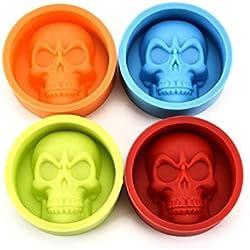 Molde de silicona Saihui. Molde con diseño 3D de calavera para chocolate o fondant, ideal para decorar tartas