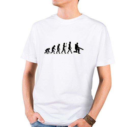 JUNIWORDS Herren T-Shirt mit rundem Ausschnitt -Evolution Cricket Spieler - große Auswahl an Motiven - Größe: L - Farbe: Weiß (Cricket-spieler)