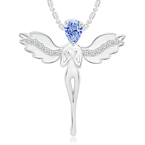 VK Jewels Angel Rhodium Plated Alloy CZ American Diamond Pendant with Chain for Women [VKP2698R]