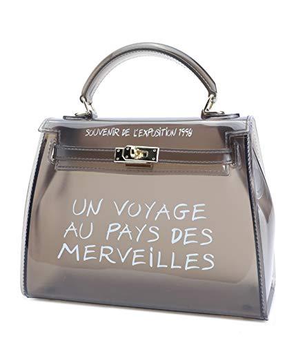 Damen Handtasch Transparenter Jelly Bag aus PVC Wasserdichte Umhängetasche Mode Shopper ()