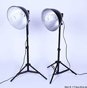 2x Stativ + 2 Leuchte Aluschirm optimale für Lichtwürfel Lichtzelt Fotozelt