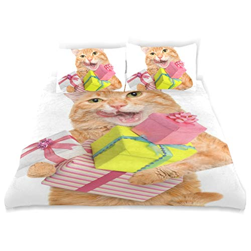 Vipsk Kinder-Bettwäsche-Set mit Katzen-Motiv, 3-teilig, 100{1bc8405f4cdb4036d49b8679a039381d098eac04f9946cb733477468336e9419} Baumwolle, mit Reißverschluss, Bio-Modernes Bettset