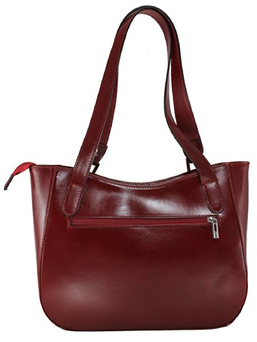 CTM Damenhandtasche Stylish, 34x23x10cm, 100% echtes Leder Made in Italy Rot
