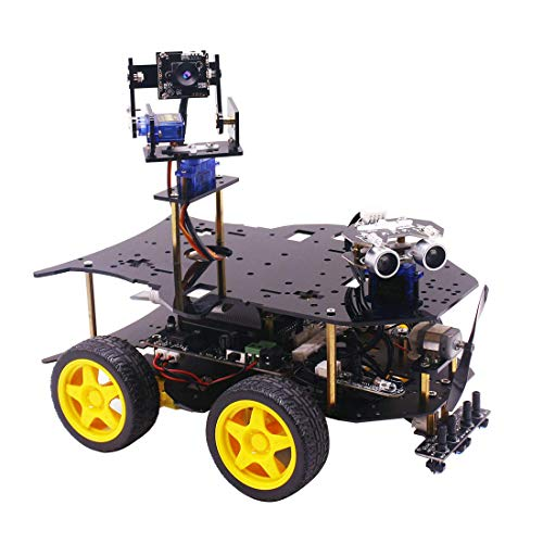 DXX Roboter Programmierbar Robot Car Kompatibel mit Raspberry Pi 3 B + Arduino UNO Bluetooth und WiFi-Modul Mit Kamera 4WD DIY Stem Toy Kit für Jugendliche Mit Raspberry Pi