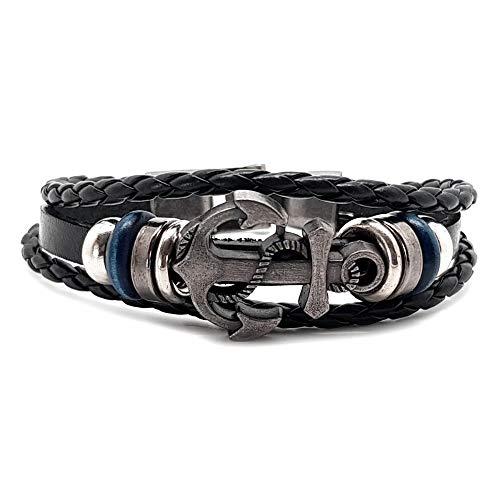 BOBIJOO Jewelry Herren-Armband Leder Schwarz Anker Metall Blau Bronze