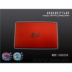"""3GO HDD25R 2.5"""" Rouge boite de stockage - boites de stockage (2.5"""", SATA, USB 2.0, Rouge, Windows 95/98/Me/2000/NT/XP/Vista, 73 g)"""