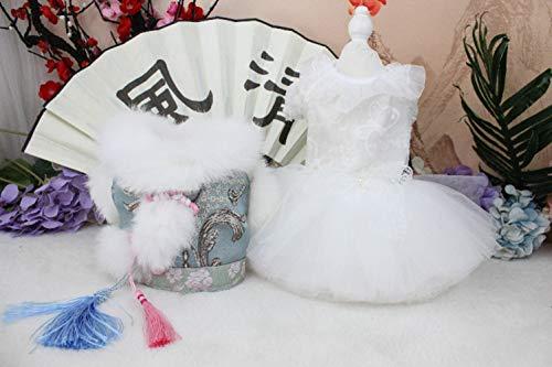Mascotas ropa de invierno, High-End privado personalizado del gato del perro ropa juego de la espiga cheongsam de la boda azul clara de media longitud y felpa trenza boda cheongsam de dos piezas,Twosets,S