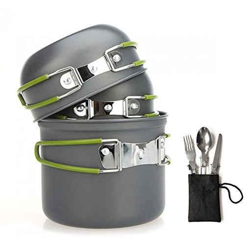 Fiambrera de camping batería de cocina cocinar al aire libre equipo Cookset | ligero, compacto, & durablecamp Pot Pan cuencos con bolsa de transporte gratuita, para trekking, senderismo y Picnic