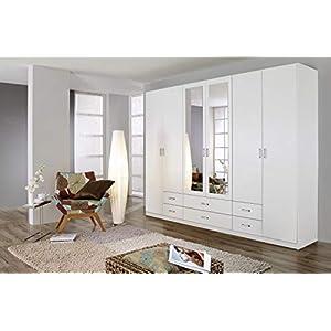 Rauch Möbel Gamma Schrank Drehtürenschrank Kleiderschrank in Weiß mit Spiegel 6-türig, inklusive Zubehörpaket Basic 3 Kleiderstangen, 3 Einlegeböden BxHxT 271 x 210 x 54 cm