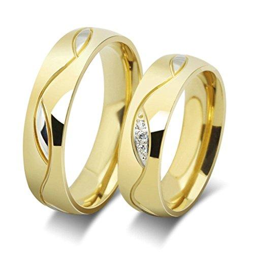 Beydodo Edelstahl Damen Ringe (Ehering), Form des Blattes mit cz liebe Ring Breite 6MM Größe 54 (17.2) Gold - Cz Alle Ringe Herren