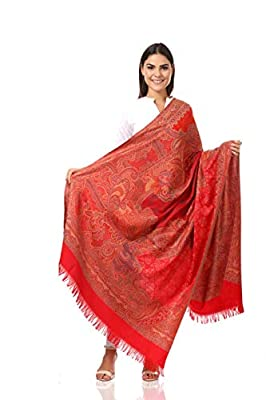 Pashtush Women's Wool Shawl - Maroon Kashmiri Embroidery Shawl, Warm Merino Wool, Sozni Embroidery