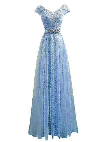 Ballkleider Damen Abendkleider A Linie Hochzeitskleider Lang V-Ausschnitt Tüll Hellblau EUR48