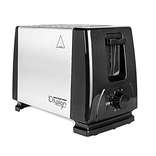 Brot Toaster - Italian Design, 2 Toasts, 6 Heizstufen, mit herausnehmbarem Tablett und Edelstahl - 750W -