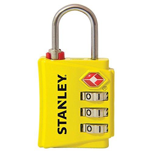 STANLEY TravelMax TSA Zahlenschloss 30mm gelb Sicherheitsindikator 3-stellig S742-056, Schloss, Bügelschloss
