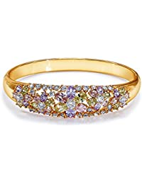 Peora 18K Gold Plated AAA Zirconia Pastel Cluster Openable Bracelet For Women And Girls