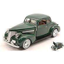 CHEVROLET COUPE' 1939 GREEN 1:24 MotorMax Auto d'Epoca modello modellino die cast