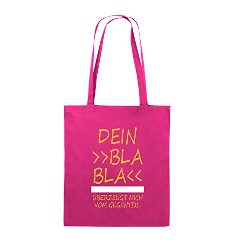 Borse Comiche - Il Tuo Bla Bla Bla Mi Convince Al Contrario. - Borsa Di Juta - Manico Lungo - 38x42cm - Colore: Nero / Bianco-neon Verde Rosa / Giallo-bianco