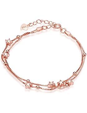 Unendlich U Elegant Sterne Damen Strangarmband 925 Sterling Silber Charm-Armband Armkette Verstellbar Armkettchen...