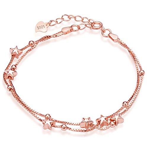 Unendlich U Elegant Sterne Damen Strangarmband 925 Sterling Silber Charm-Armband Armkette Verstellbar Armkettchen Armreif, Rosegold