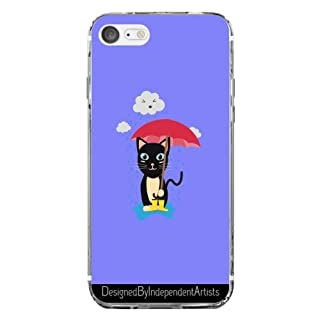 Case Thin Transparent Silicone for Iphone 7 / Iphone 8 - Cat in the rain with by ilovecotton