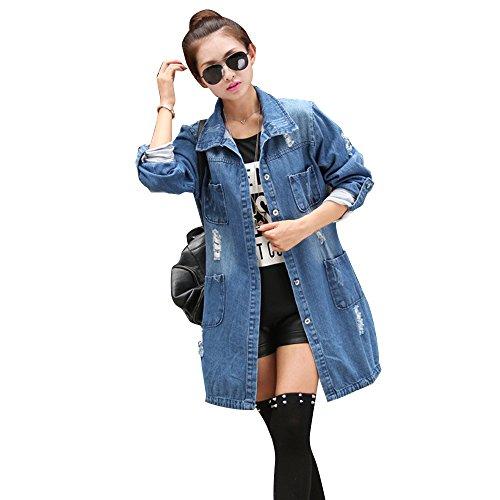 Wenyujh Damen Jeansjacke Denim Jeans Jacket Herbst Jeansmantel Cool Ripped Zerrissen Blau