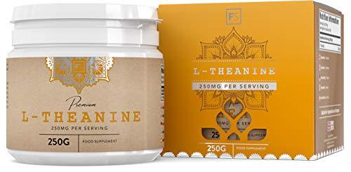 FS reines L-Theanin-Pulver [250 g], beruhigt auf natürliche Weise, ohne Zusatzstoffe, vegan | Nootropikum zur Konzentrationsförderung, bringt das Gehirn auf Touren - Ohne GVO, Gluten & Milch -