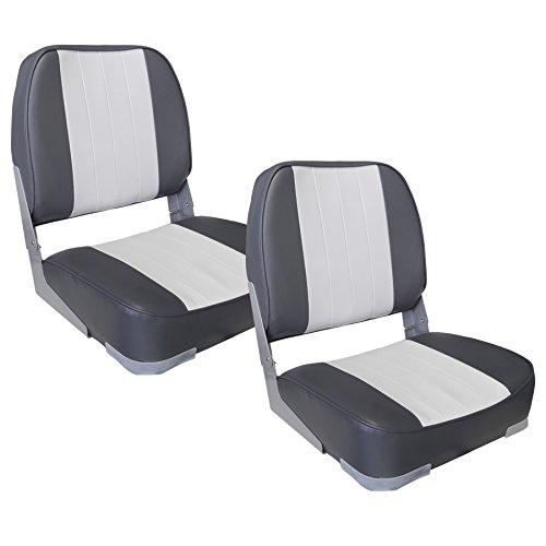 [pro.tec] 2X Bootssitze (grau - Weiss) im Sparpaket - aus wasserfestem Kunstleder/Steuerstuhl/wasserfest/gepolstert/Kapitänsstuhl/Angelsitz/UV- beständig