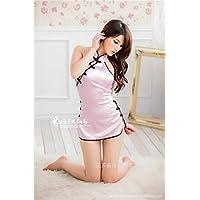 SUNZHENSexy backless lingerie in raso rosa abito