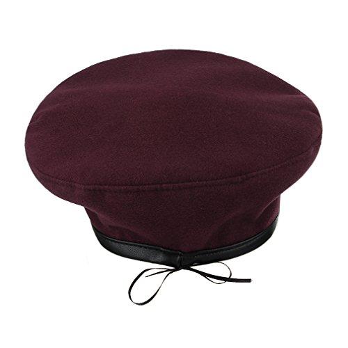 GEMVIE Chapeau Bonnet Béret Femme Fille Vintage Automne Hiver Casual Artiste Hat Rouge