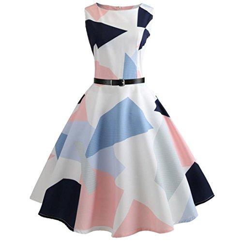 Kleider Damen Sommer Elegant Knielang Festlich Hochzeit Rockabilly Vintage-Druck Bodycon ärmelloses Casual Abend Party Prom Swing Kleid (Weiß,...