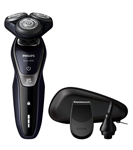 Philips S5520/45 - Afeitadora eléctrica, uso en seco, con recortador de precisión SmartClick, recortador de nariz SmartClick y funda de viaje, color negro