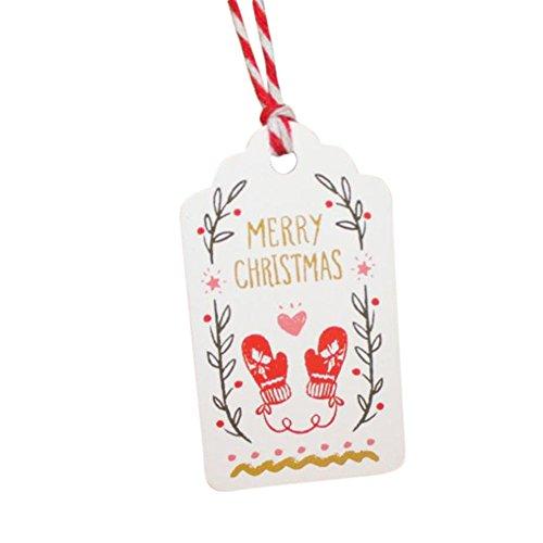IY Etiketten Kraftpapier Material Schilder Anhänger für Geschenk Thema Frohe Weihnachten Kreativ Lesezeichen 7.0*4.0cm, Dekorativ für Cupcake/Geschenkumbauten/Kuchendeckel;Stil E ()