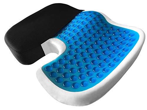 AIMO COJIN CON GEL CM-011 ortopédico para coxis, silla coche, taxi , camión, oficina. Alivia el dolor lumbar, coxis, hernia, hemorroides, corrige la postura de tu espalda, antiescaras , combinado con la frescura del gel