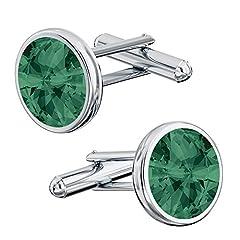 Idea Regalo - Beforya Paris* - Eleganti gemelli da uomo in argento 925 smeraldo con elementi Swarovski, aghi per bracciale con scatola PIN/75