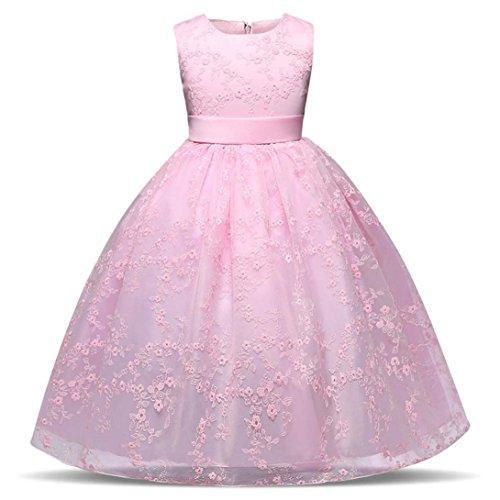 Xinan Mädchen Kleid Party Dress Kindermädchen Kleinkind Lace Girls Princess Dress Kids Party...