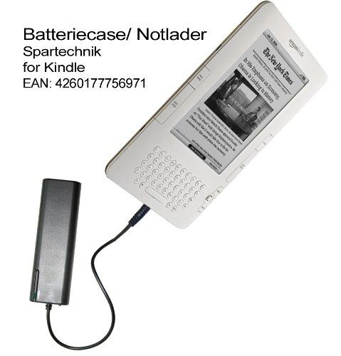 Spartechnik Batteriefach für Kindle. Externes Batterieladegerät für AMAZON E-Book Reader Kindle 2 DX, Kindle 3G + Wi-Fi. Notlader für einen großen Radius.