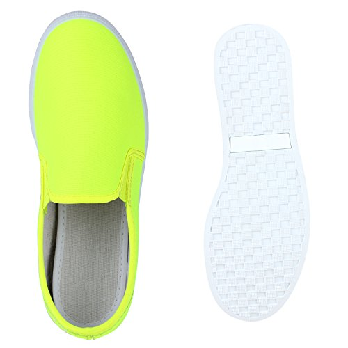 ... Damen Sneakers Slipper Slip-ons Glitzer Skaterschuhe Flats Neongelb  Neongelb