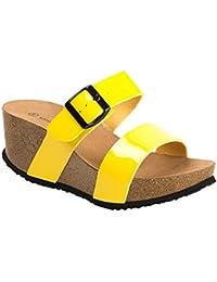 Ideal Shoes - Nu-pieds compensés et vernis Tela