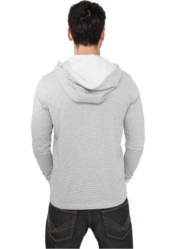 Urban Classics Stripe Jersey Hoody gry/wht